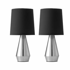 Set Of 2 Modern Touch Table Desk Bedside Lamps Black