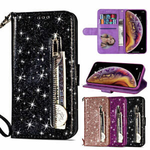 Bling-Sparkle-Leather-Zip-Pocket-Flip-Wallet-Case-Cover-For-Samsung-Note-10-S10
