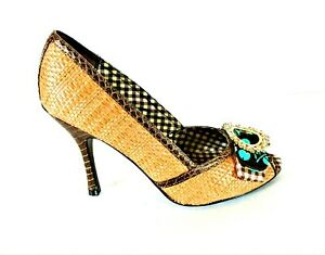 Chinese Laundry Brown Tan Pumps Heels Peep Toe Shoes Women's 7 1/2 M (SW5)pm