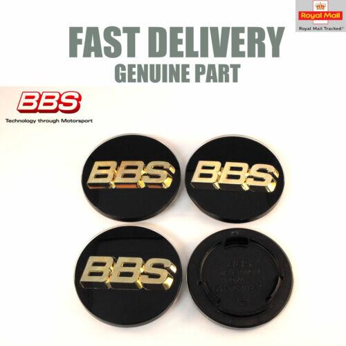 4x Genuine BBS Center Caps 70.6 mm noir et or 3D RS RM NEUF