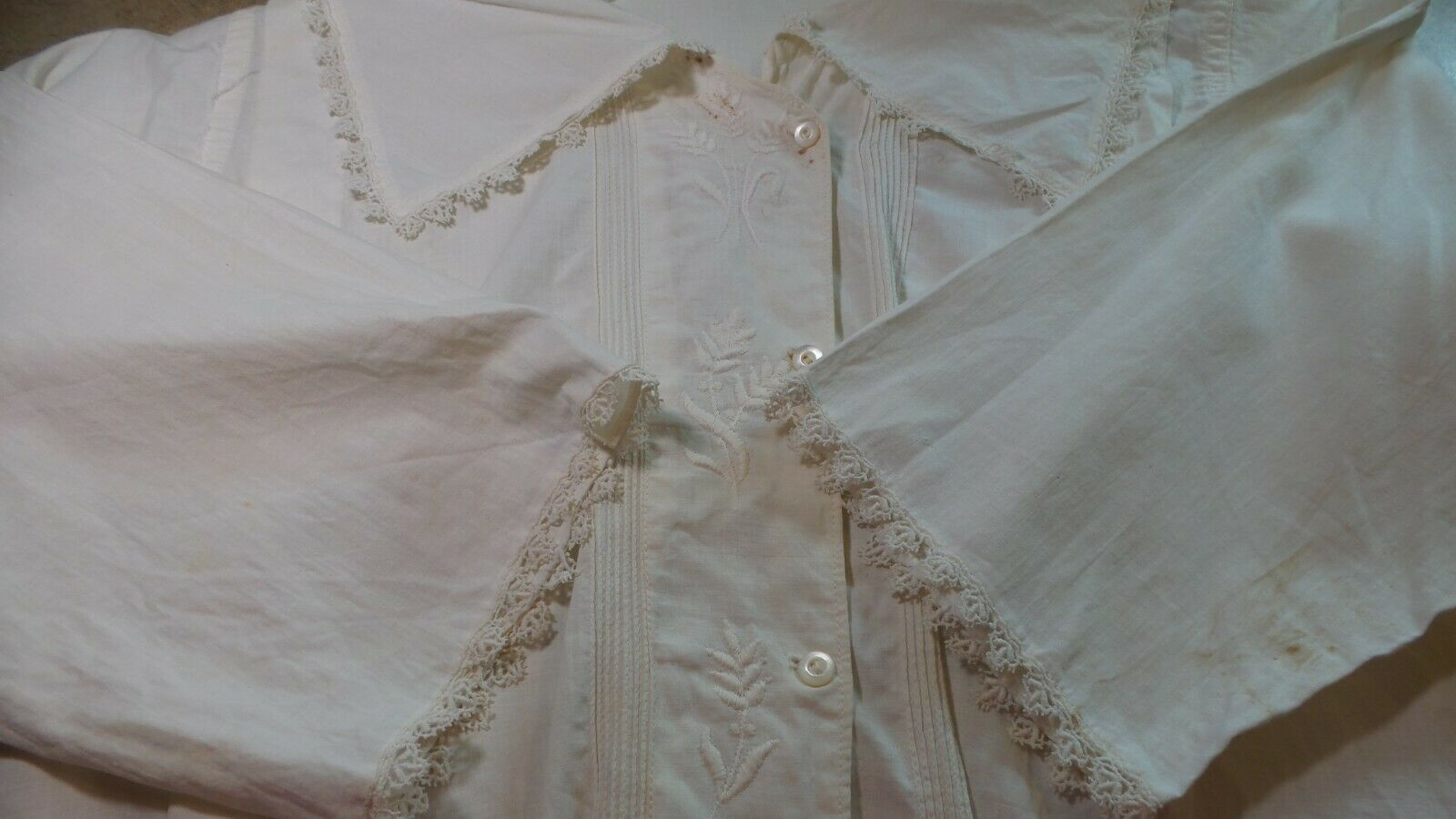ANTIQUE! Hand STITCHED Women's BLOUSE With LACE C… - image 11