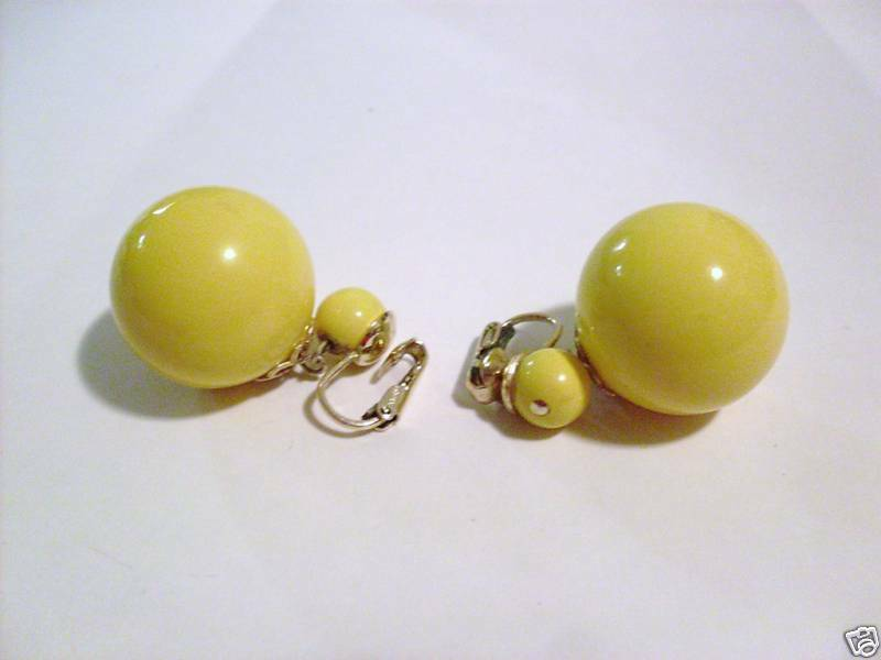 dfbf7f6d5acd4 JAPAN SIGNED VINTAGE , EARRINGS YELLOW DANGLE HUGE wcgnc58213360 ...