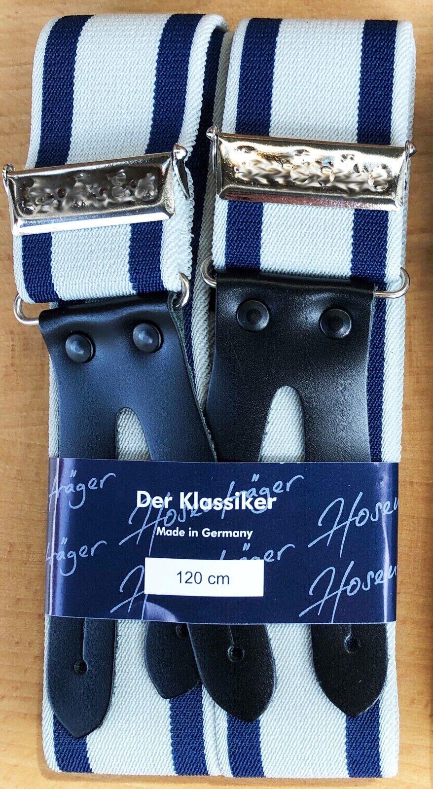 Extra Breite 4,5 cm Hosenträger Träger blau Lederpatte zum Knöpfen Spitzbundhose