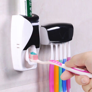 New-Auto-Automatic-Toothpaste-Dispenser-5-Toothbrush-Holder-Set-Wall-Mount-Stand