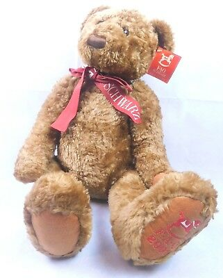 """Details about  /FAO SCHWARZ LARGE 22"""" Luxurious BROWN BEAR RED BOW SOFT PLUSH,Jointed Arms/& Legs"""