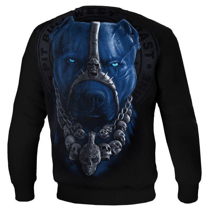 Pit Bull West Coast Sweatshirt Skull Dog schwarz Schwarz Pullover Crewneck