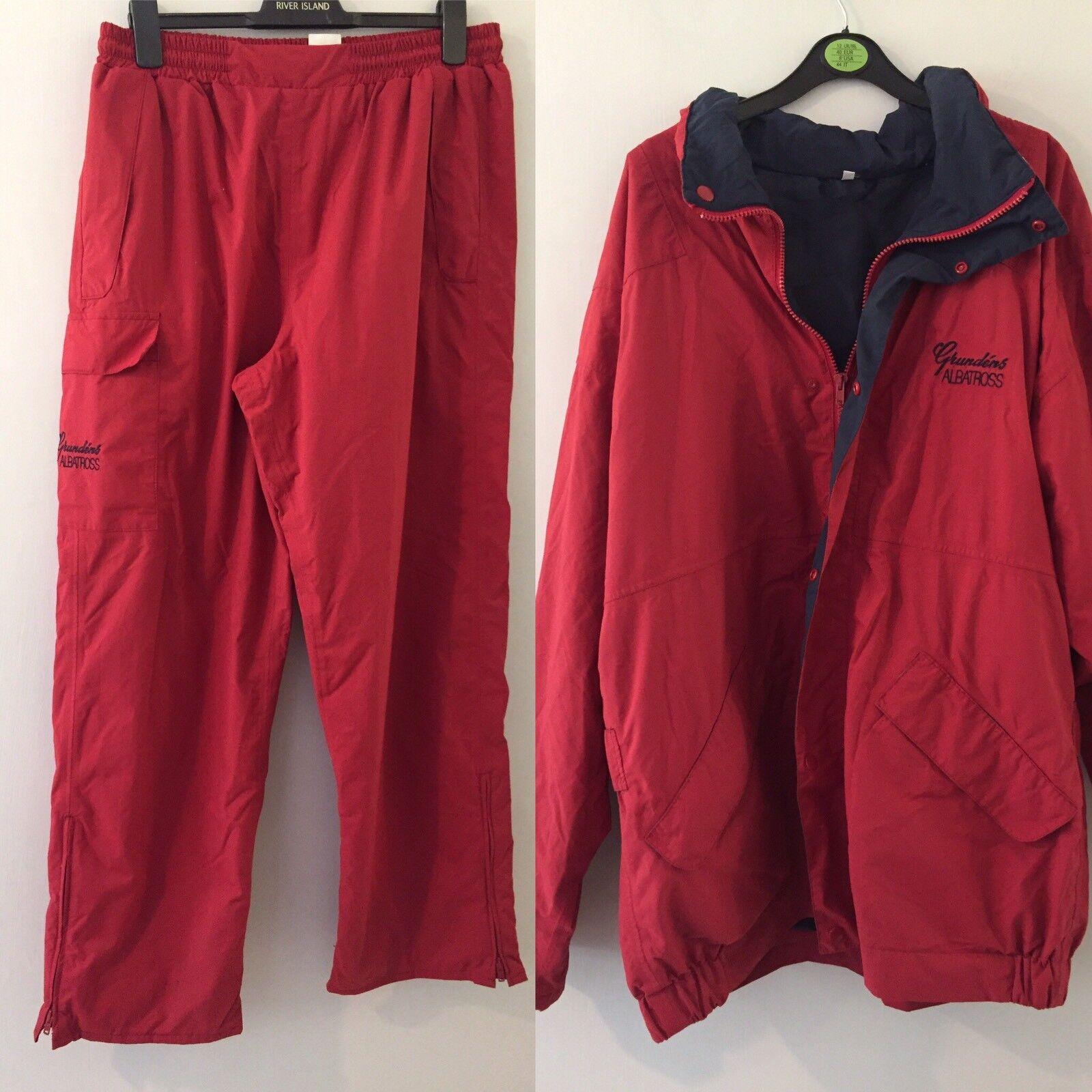 Grundens ALBATROSS Rosso Impermeabile Antivento Giacca Da Pesca Pantaloni Tuta Set XL