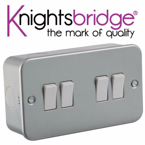 2x knightsbridge metal clad Metalclad 10A 10 amp 4 gang 2 way quad interrupteur de lumière