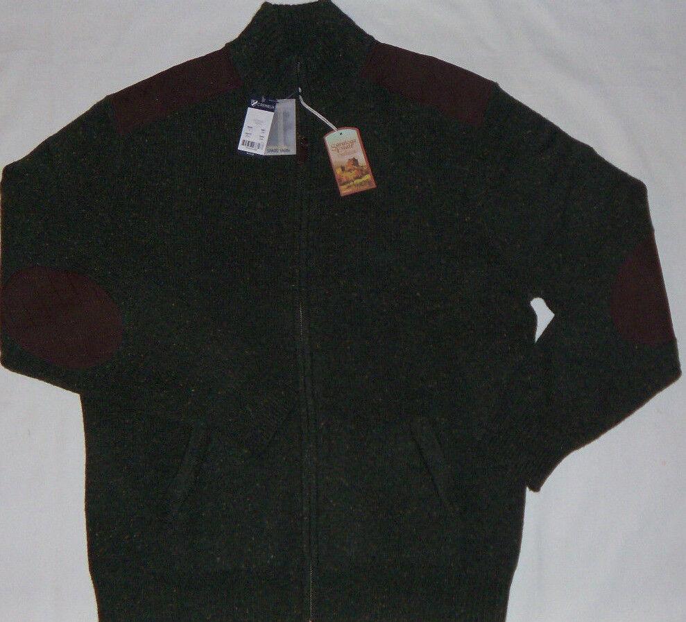 New  Herren Cremieux Saratoga Estate Grün Full Zip Tweed Cardigan Größe L MSRP 175
