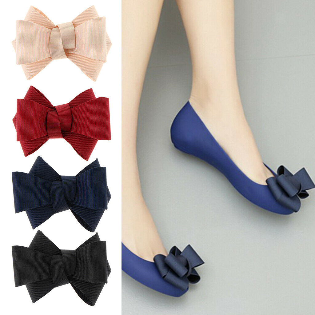 1x DIY Fashion Ribbon Bow Bowknot Shoe Clips Charms Buckle Removable Decoration