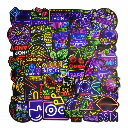 50PCS Neon Sign Stickers Bomb Decals to Laptop Guitar Car Luggage Skateboard