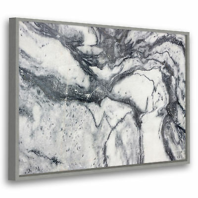 Grey White Cool Marble Modern Abstract Framed Wall Art Large Picture Prints Ebay
