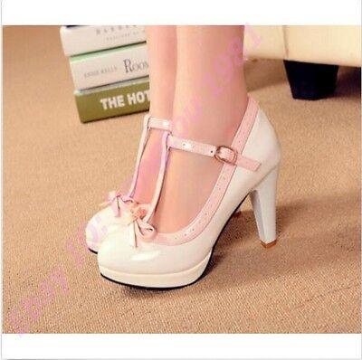 Lolita Stylish Womens Block Heels T-Strap Mary Jane Sweet Bowknot Platform Shoes