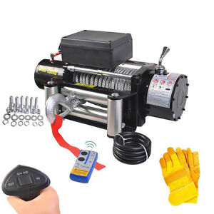 Classic-12500lbs-12V-Electric-Recovery-Winch-Truck-SUV-Wireless-Remote-w-Gloves