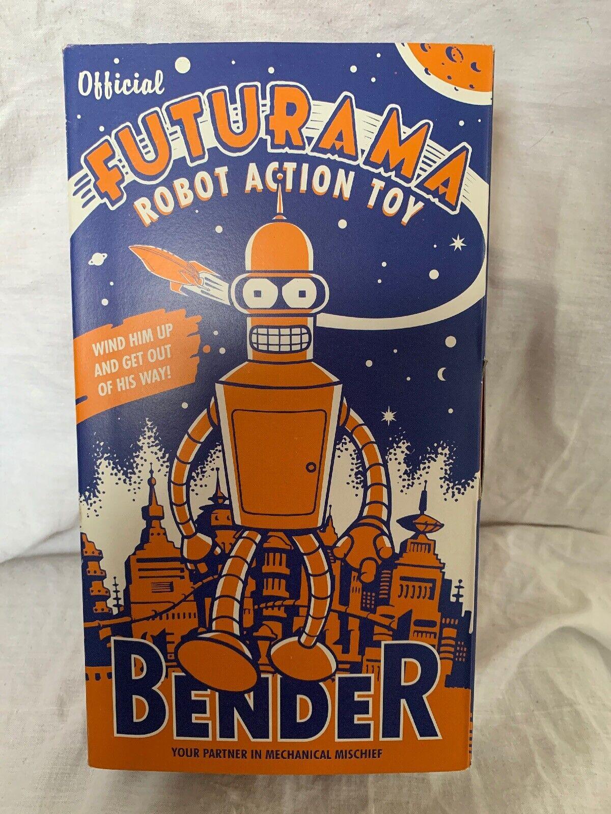 Oficial Bender Futurama Wind Up Clockwork Hojalata Juguete robot de Metal Raro Nuevo
