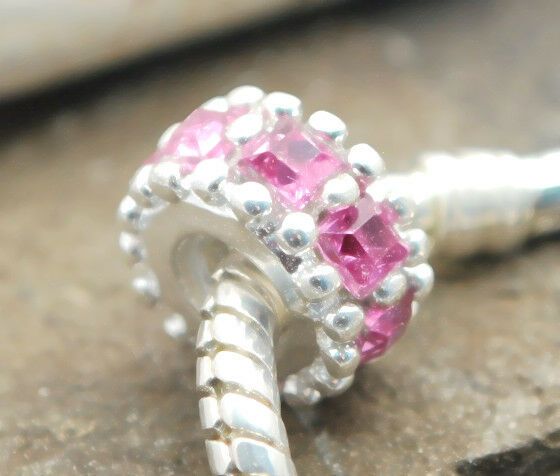 .925 STERLING SILVER BEAD EUROPEAN CHARM FOR BRACELET A258 pink GEM STONE CIRCLE