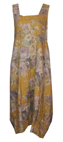 Womens Fade Floral Italian Lagenlook Long Boho Pocket Linen Ladies Tunic Dress