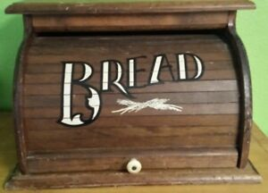 Vintage Wood Roll Top Bread Box Rustic Farm Country Kitchen By Knock
