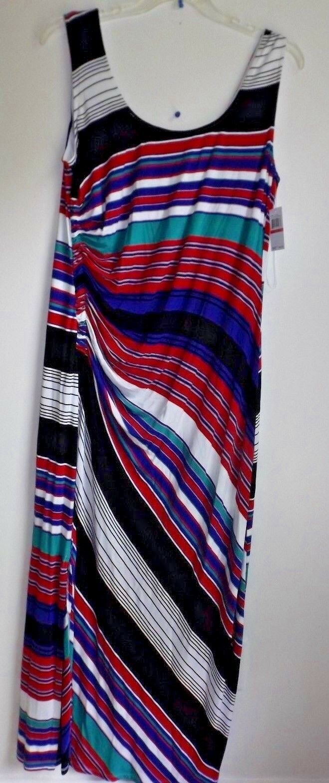 NWT Spense XXL Sleeveless multi-color striped calf length dress NWT