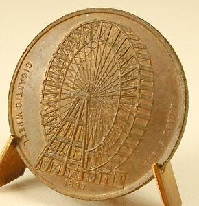Medaglia-Gigantic-Wheel-1897-Earls-Corto-Ruota-Giostra-Pop-Corn-32-mm-11-G-Medal