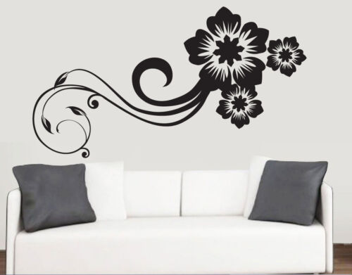 Swirling floral design wall art vinyle autocollants fleurs chambre transfert mural decal