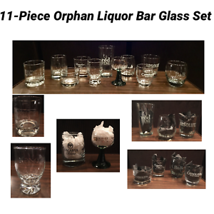VINTAGE-Collection-Set-of-11-Orphan-Liquor-Bar-Glasses-Great-Father-039-s-Day-Gift
