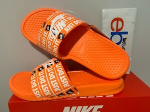 5d89fcced8fd Nike Benassi JDI Just Do It Print Slides Orange White Slide 631261 ...