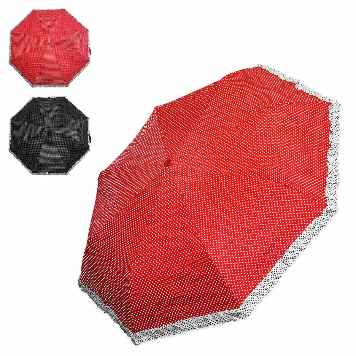 Pockets Umbrella Spotted Frill Edge Black Red Polka Dots Small Foldable