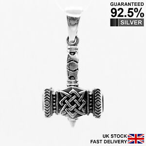 925-Silver-3D-Thor-s-Hammer-Mjolnir-Norse-Viking-Pendant-Solid-Quality