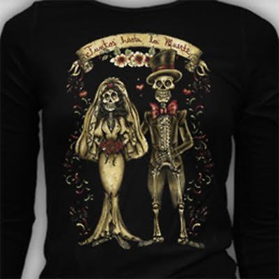 LS Juntos Hasta La Muerte Day Of the Dead Dia De Los Muertos T-Shirt S-3XL