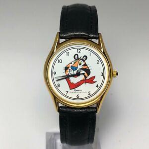 Kellogg Mens E Jour Tony The Tiger Print Leather Quartz Analog Wristwatch