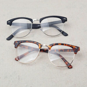 Stylish-Vintage-Half-Frame-Clear-Lens-Glasses-Nerd-Geek-Eyewear-Eyeglass