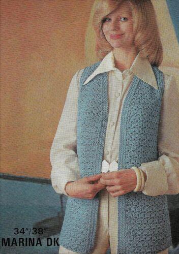 """1096 Chaqueta sin mangas de señoras Crochet 34-38/"""" DK Hilo Vintage patrón de ganchillo"""
