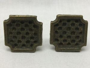 2-Vintage-Drawer-Knobs-Brass-Ornate-Square-Design-1-034-DIY-Project-Hardware