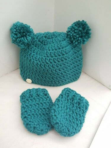 18m ** New Handmade crochet baby boy girl pompom  Hat /& mittens novelty newborn