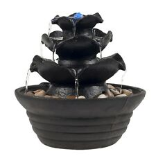Charmant Table Top Electric Water Fountain 3 Tier Cascading Bowls With LED Light