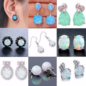 925-Silver-Sterling-White-Fire-Opal-Ear-Stud-Earrings-Engagement-Wedding-Jewelry