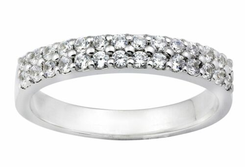 Diamond Wedding Engagement Ring Band 0.50 Carat Two Row Solid 14k White Gold