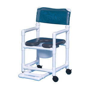 soft seat wheeled rolling shower chair commode w/footrest vl of17