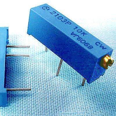 5 Vishay Series T93XB-103 10,000 Ω 21-turn Miniature Trimmers 10K Ohm POTS