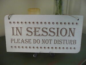 in session do not disturb sign wooden shabby door plaque home office