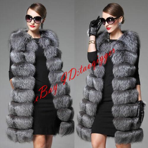 Womens 6XL Faux  Fur Vest Winter Thicken Long Waistcoat Coat Outwear Slim Fit