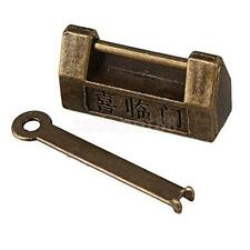 Chinese Old Style Antique Carved Characters Padlock Lock With Key Collection