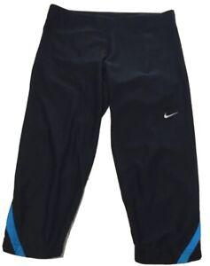 NIKE-DRI-FIT-Womens-XS-Activewear-Running-Capri-Pants-Black-Blue