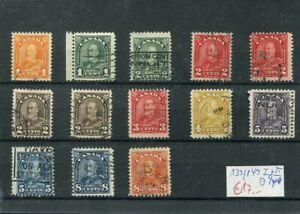 34) Canada 1930-mi. n. 139/149 I + II timbrato-Re Giorgio V.
