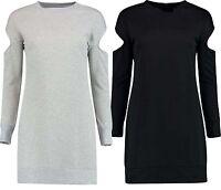 Ladies Womens Cut Out Shoulder Long Sleeve Baggy Mini Dress Top Plus Size 8-26