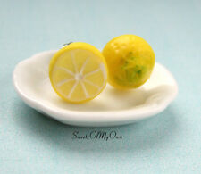 Lemon Yellow Stud Earrings - Front and Back - Citrus Fruit Jewelry - Handmade