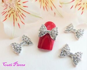 3D-Nail-Art-Silver-Sparkly-Party-Big-BlinG-Rhinestone-Bows-Alloy-Metal-Craft