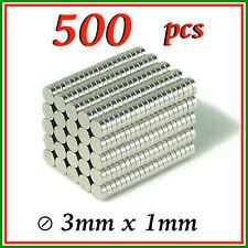 500 PCS Bulk Small Round 3mm x 1mm Disc Magnets Powerful Craft NdFeB Magnet N35