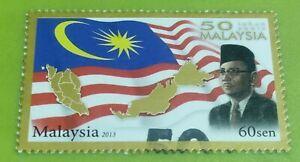 60 sen cents Tunku Abdul Rahman 2013 Malaysia Day CTO with gum